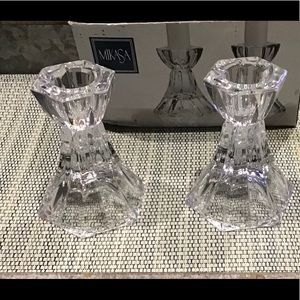Mikasa Metro Flair crystal candle holders NIB